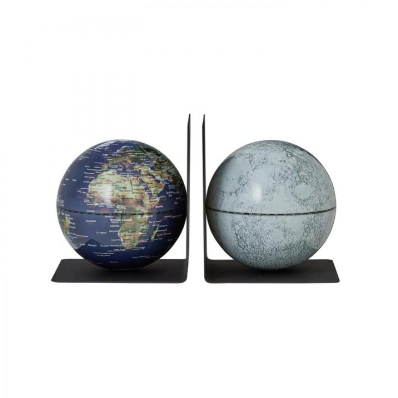 Buchstützen-Set BOOKGLOBE EARTH MOON Ø 130