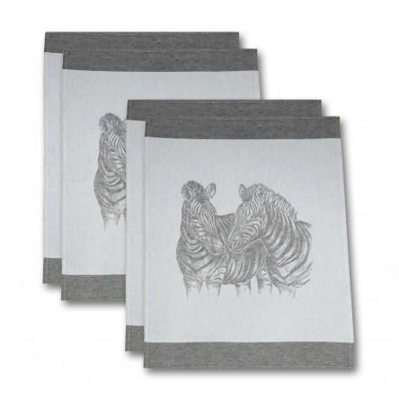 """Leinen Geschirrtuch """"Zebra"""" (4er-Set) – Driessen Schlitzer Leinen"""