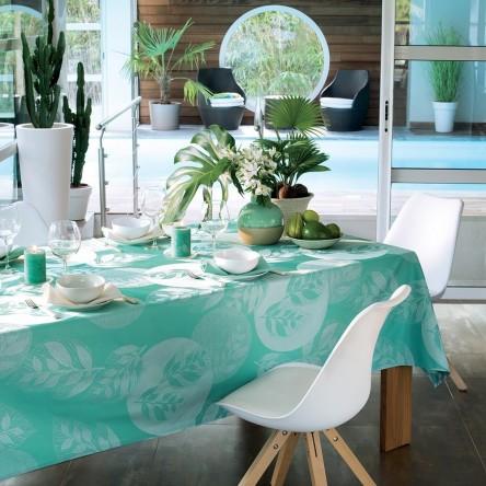 MILLE VERDOYANT TURQUOISE – Beschichtete Tischdecke von Garnier Thiebaut